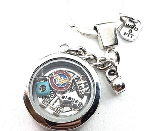 Keychain Beast Girl-Customize your Living Locket keychain with your story.Fitness jewelry,Fitmom-Sport-Floating Locket-Charm Custom Fit Girl