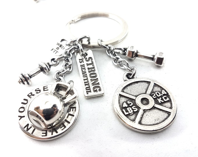 Keychain Annie Workout 45lbs Kettlebell Motivation,Fitness Jewelry,Gym Gift,Dumbbell,Weight Plate,Coach Gift,Training,Crosstraining,Sport