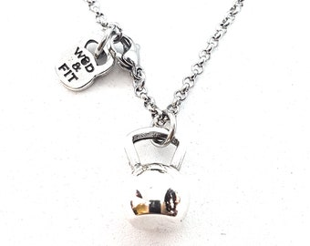 Necklace Kettlebell Exercise Workout,Bodybuilding,Fitness Jewelry,Coach Gift,CrossFit,Gym,Fit Mom,Fit Girl,Sport Jewelry,Crossfit Girl,Sport