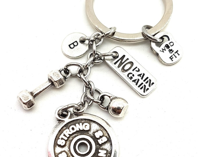 Keychain Strong Woman,Dumbbell Motivation & Initial.Bodybuilding Jewelry,Fitness,Gift For Coach,Crossfit Gift,Gym Girl Gift,Best Friends,Wod