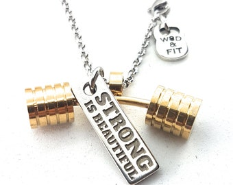 Necklace Strongman Workout Gold Barbell & Motivational Word,Bodybuilding,Gym Fitness Gift,Jewelry Weight Lifting,Strongman Gift Wod,Crosstra