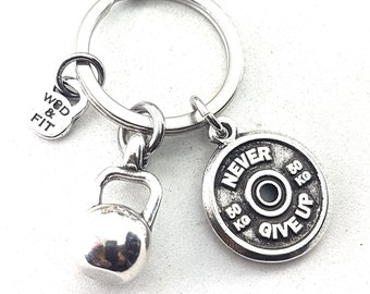 Keyring Hall Hero Workout Kettlebell & Motivational Weigth Plate,Bodybuilding Jewelry,Fitness Gift,Fit Girl,Crossfit Gift,Fitness Motivation
