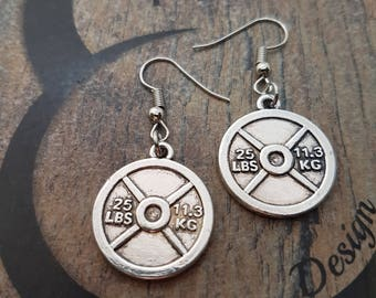 Earrings Weight Plate Workout GymJewelry,Joyas Fitness,Bodybuilding,Weight Lifting,Barbell,Gym Gift,Motivational Gift,Cross Fit motivation