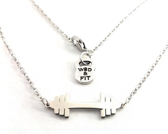 Necklace Flat Barbell. Female Bodybuilder Gift - Gym Jewels - Gym Girl Gift - WeightLifter -Powerlifter - Fitness Jewels -Crossfit Girl Gift