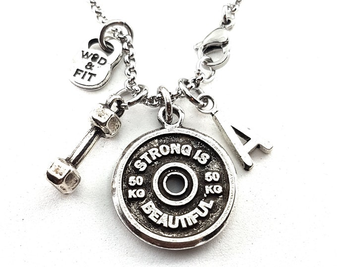 Featured listing image: Necklace FitPlate 50kg Santiago Workout Motivational Weight Plate,Dumbbell & Initial Letter.Gift,Bodybuilding,Jewelry Fitness,Crossfit Gift