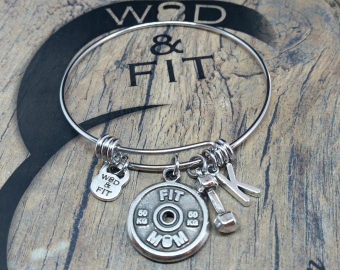 Bracelet FKalsu Workout Motivational Weight plate 50kg Dumbbell & Initial.Gym,Bodybuilding Jewelry,Weight lifting,Fitmom,Fitgirl Gift,Crossf
