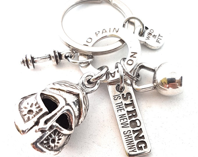 Keychain Gladiator Strength and Honor Fitness Workout,Spartan Race Jewelry,Fitness,Crosstraining,No Pain No Gain,Fitness jewelry,Spartan wod