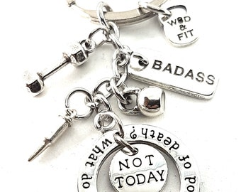 """Fitness Keychain """"What do we say to the God of death?"""" """"Not Today"""" Dumbbell,last Bullet & Motivation.Personalized,Fitness,Bodybuilding GOT"""