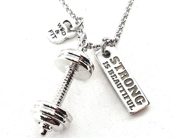 Barbell  Necklace y Motivational Word Bodybuilding,Gym,Workout,Fitness Gift,Sport jewelry,Weight Lifting,Strong,Barbell jewelry,Gym Gift,Wod