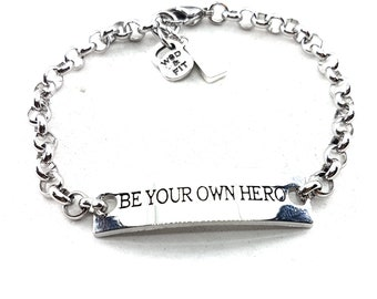 Bracelet Be Your Own Hero,Initial Bracelet,Fitness Jewelry,Motivational Gift,Gym,Dad Gift,Motivational Bracelet,Woman Gift,Wod and Fit