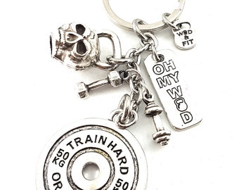 Keychain Weight Plate Train Hard or Go Home Skull Kettlebell Workout. Bodybuilding Jewelry-Fitness jewels-Gym Gifts-Crossfit Gift-Wod & Fit