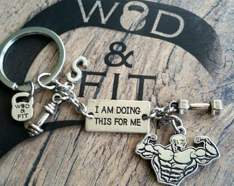 Keychain I Am Doing This For Me.Dumbbell,Sport & Initial leter.Bodybuilding Jewelry Motivational Gift Sport,Fitness Fitmom Fit Girl Gym,Cros