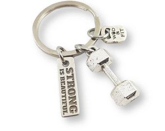 Gym Keyring Dumbbell & Motivation Big Clean Complex Workout - Gym Key chain - Message Gift -Crossfit Gifts for Men - Crossfit Keyring