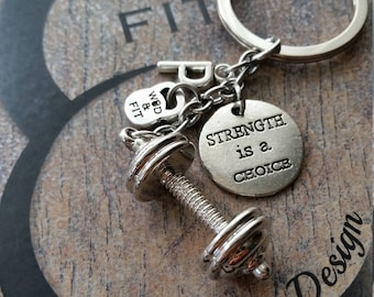 Barbell Keychain Omar Workout Motivation y Initial Letter.Kettlebell,Gym,Motivational Bodybuilding,Fitness,Personalized,Crosstraining Gifts