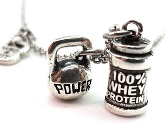 Necklace 100% Whey Protein & Weight or Shaker Workout Bodybuilding,Motivational Jewelry,Coach,Fitness Gifts,Crosstrainer,FitGirl,Gym Gifts