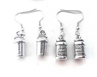 Earrings 100% Whey Protein & Shaker Workout Bodybuilding,Motivational Jewelry,Coach,Fitness Gifts,Crossfit girl gift,FitGirl,Gym Gift,Fitmom