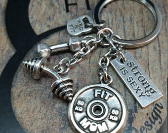 Barbell Keychain Danny Workout Motivational FitPlate Barbell,Weight Plate,Dumbbell,Fitness Jewelry Gym,Bodybuilding,Motivation Gift,Fit Girl