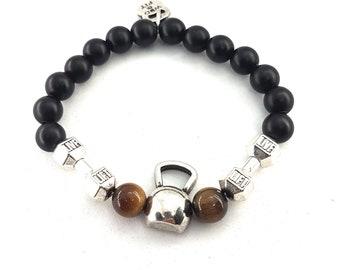 Bracelet Kettlebell Dumbbell Workout Natural Stone.Bodybuilding Bracelet - Fitness jewels - Gym Gift - Crossfit Gift- Gym Bracelet - Unisex