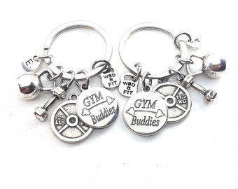 Couple Keychain GYM Buddies & Weight Plate 25lbs+25lbs Initial.BFF Gift,Fitness,Gym Friends,Best Friends Gift,Gym Buddies Gift,Partner Gift