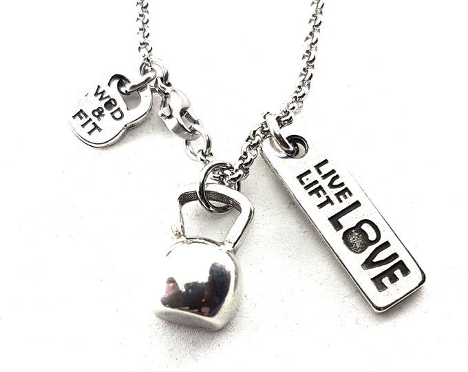 Featured listing image: Necklace Kettlebell Half Get Up Workout Bodybuilding Jewelry Fitness,Motivational quote,Cross Training gift,No pain No Gain,Coach Gift W&F