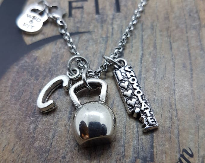 Necklace I Love Chocolate two Passions,Chocolate and weight.Fitness Gift,Kettlebell,Bodybuilding Jewelry,Sport,Crosstraining Gift,Gym Gift