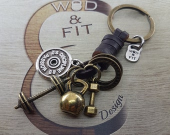 Leather Keychain Old School Workout Motivational Plate,Kettlebell,Dumbbell,Bodybuilding gift,Coach Gift,Crosstraining,Fitness gifts,Sport