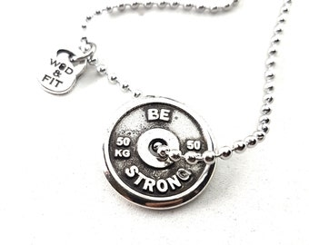 Necklace Plate Jack Press Workout Motivational Weight Plate.Bodybuilding,Gym Gifts,Coach gift,Gym Motivation,Train Hard,Weightlifter gift