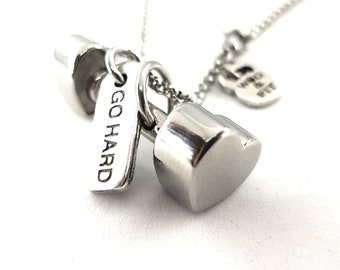 I Love Fitness Heart Dumbbell Necklace y Motivational Word Bodybuilding- Gym Gift -Fitness Gift -Fitmom -Crossfit Girl - Motivational Gift