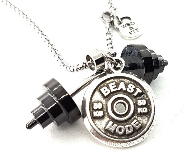 Necklace Power Clean Workout Barbell Black Gun & Motivational Weight Plate Bodybuilding,Gym Gift Fitness Jewelry,Weight Lifting,No Pain Gift