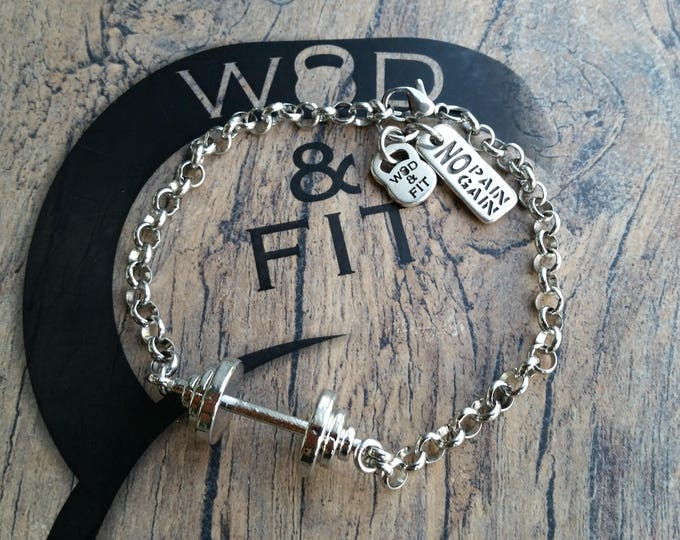 Barbell Bracelet Grace Workout Barbell.Joyas Bodybuilding,Fitmom,Fitness Gift,Gym Gifts,Fit Girl Motivation Weight Lifting,Crosstraining wod