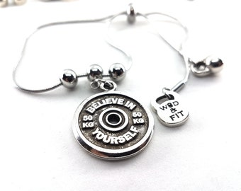Bracelet Open 17.5 Workout FitPlate Motivation Barbell Bodybuilding Coach gift,Fitness Motivational gift,Women bracelet,Jewelry Gift,Fitmom