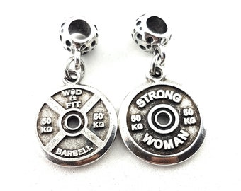 Charms FitPlate Pendent Motivational Weight Plates 50kg,Bodybuilding,Fitness Jewelry,Gym,CrossFit Girl Gift,Weightlifting,Bodybuilder Jewels