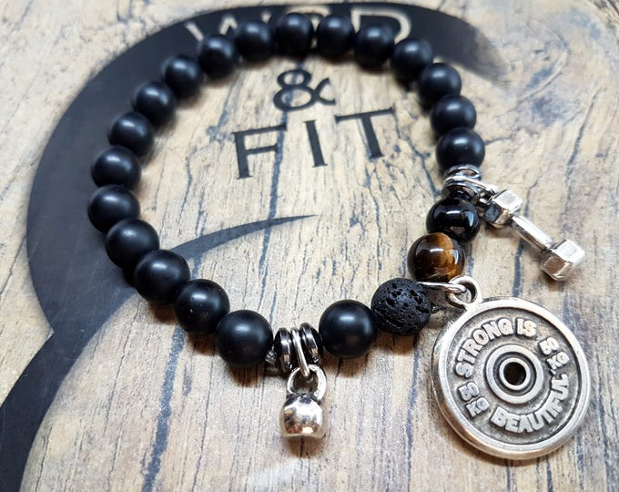 Onix Bracelet Camille Workout Motivation FitPlate,Kettlebell,Dumbbell,Fit Jewelry,Bodybuilding,Gym Gift,Crosstraining Gift,Workout Jewelry