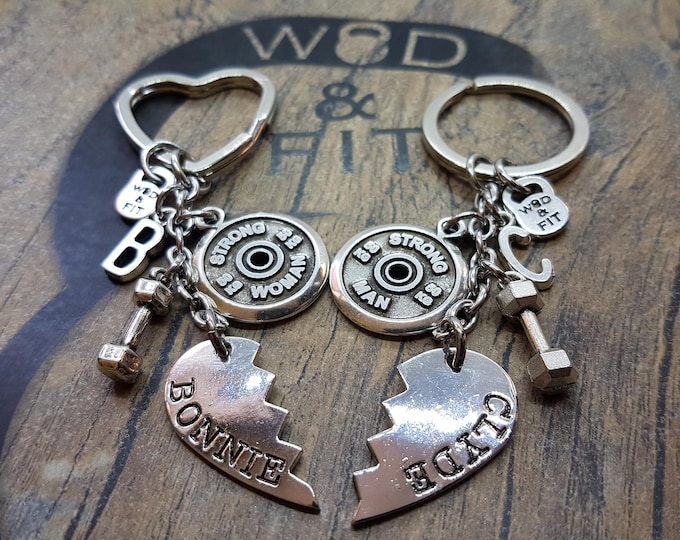 Couple Keychain  Bonnie & Clyde StrongWoman StrongMan Dumbbell Workout Initial Letters.BoyFriends gift,Fitness Jewels,Me Valentine,Cross Fit