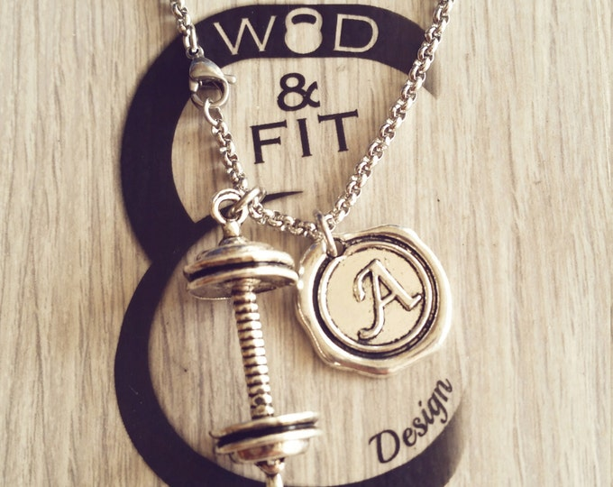 Barbell Old School& Initial Letter Necklace.Fitness Workout,Kettlebell,weight lifting,Bodybuilding,Dumbbell,Initial Personalized Coach Gift