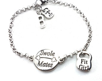 Bracelet Swole Mates & Weight/Motivation, Initial.Fitness Girl,BFF,Gifts for sisters,Friends jewelry,Sisters of battle,Crossfit,Wod and Fit