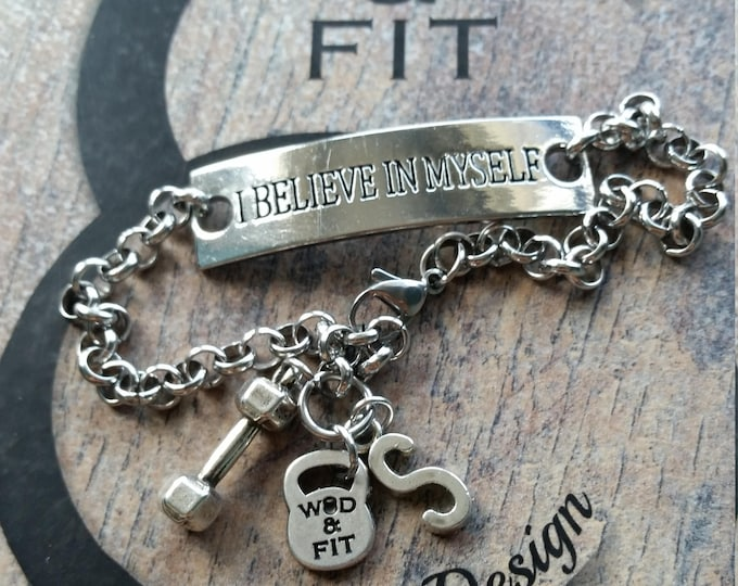 Motivational Bracelet Fitness I Believe In Myself Weight & Initial leter.Sport,Fitness Fitmom Fit Girl Gym,Initial Gift,Wod Sport Jewelry