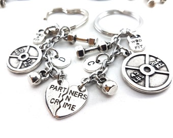 Couple Keychain Partners in Crime Workout Weight Plate 25lbs & 45lbs Dumbbell,Initial.BBF,Bodybuilding,Jewelry Fitness,Cross Fit Girl,Love