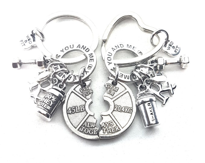 Couple Keychain You and Me Always Together,Saker & 100% Whey Protein,Rx Workout.Dumbbell,Initial.Bodybuilding,FitGirl,Gym Gift,Crossfit Girl