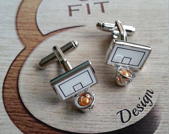 Cufflink Basketball Board Coach Gift,Motivational,Dad Gift,Father Gift,Fitness,Sport Cufflink,Basket jewelry,Married Gift,Sport Jewelry