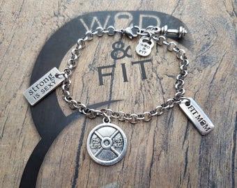 Fitness Weight Plate Bracelet Helen Workout.Bodybuilding,Gym Gift,Kettlebell,Motivational Gift,Fitmom,Fitness Jewelry,Crosstraining gift,Wod