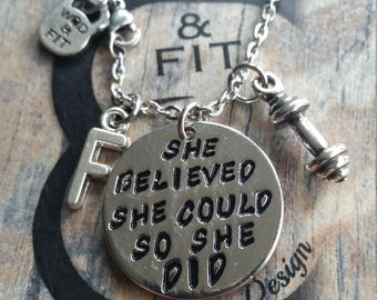 Necklace She Believed She Could So She Did Dumbbell & Initial letter.Motivation,Fitness,Gym,Bodybuilding,Kettlebell,Weightlifting Sport Gift