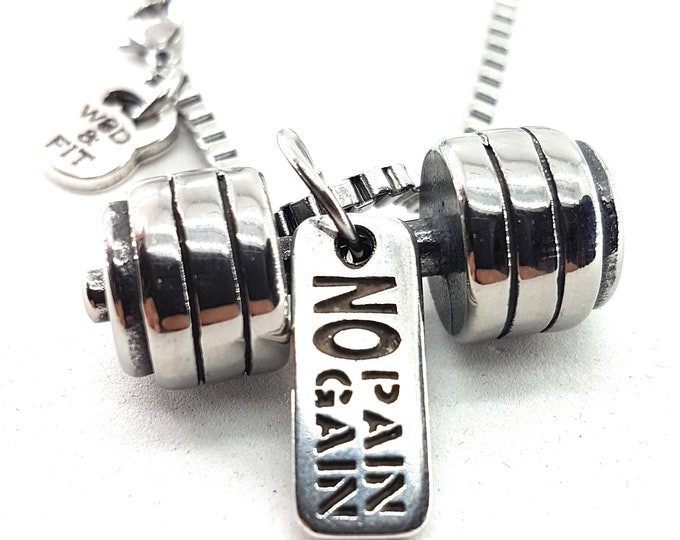 Necklace Deadlift Workout Barbell & Motivation Bodybuilding Gift,Gym Fitness Gift,Sport jewelry,Strongman,Crossfit Jewelry,Sport Gift,Wod