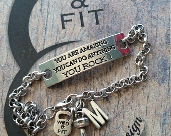 Motivational Bracelet Fitness You Are Amazing You Can Do Anything You Rock! Weight & Initial leter.Sport,Fitness Fitmom Fit Girl Gym,Initial