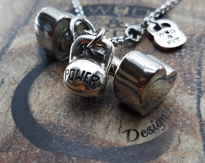 I Love Fitness Heart Dumbbell Necklace y Motivational Kettlebell,Bodybuilding,Gym Gifts,Fitness Jewelryt,Womens gift,Fitmom,Crossfit Girl