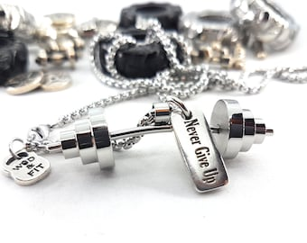 Powerlifting Workout Barbell & Motivation Bodybuilding,Gym Fitness Gift,Sport jewelry,Weight Lifting,Strong,Personalized gift Bodybuilder
