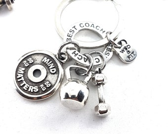 Keychain AMRAP Workout Kettlebell - Dumbbell - Gym Gift -Fitness Key Ring - Bodybuilding -Motivation Gift - Personal Trainer Gift - Crossfit