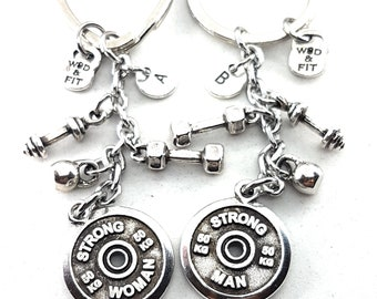 Couple Keychain FitPlate Strong Man-Strong Woman Workout.Kettlebell,Dumbbell,Barbell,Initial.Bodybuilding,Fitness Gift Couple,Gift Gym,Cross
