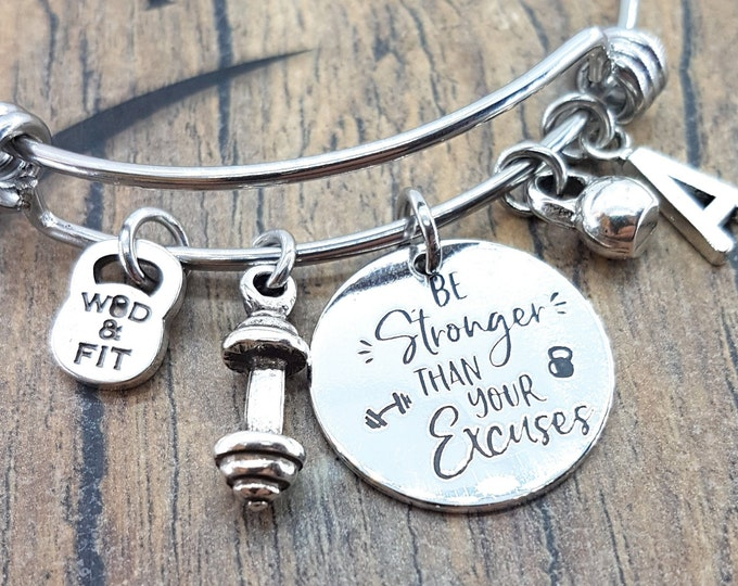 Be Stronger Than your Excuses Bracelet,Barbell,Kettlebell & Initial Letter.Fitness,Motivational Gift,Gym Gifts,Girlfriend gift,Bodybuiling