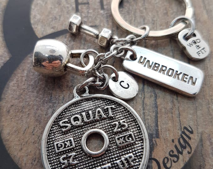 Keychain Squat Clean Workout Jewelry Kettlebell,Dumbbell,Motivation & Initial.Fitness,Bodybuilding,Weight,Coach Gift,Gym Gift,Crosstraining